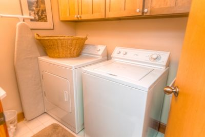 Just through the front door to your left is the laundry room.
