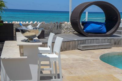 Ourdoor bbq pool bar on ocean deck with private ocean access