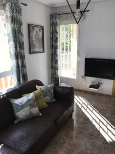 Our settee and TV, internet available 2.5 Euros per day