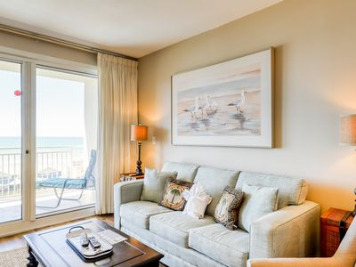 Photo for Beach views from 9th floor condo - walking distance to pool & attractions!