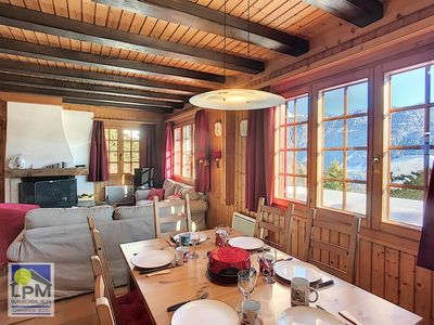 Photo for Chalet Jized Nice small family chalet, panoramic view (Chamossaire, Dents-du-Midi), situated in a ca