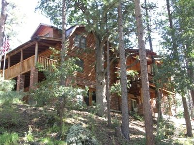 Photo for Log Cabin / Beautiful Mountain Pines, 5000+ Square Feet for Social Distancing