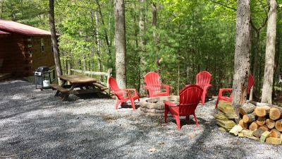 PICNIC TABLE  & GRILL WITH 8 ADIRONDACK CHAIRS TO ENJOY THE EVENING AT FIRE PI