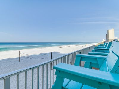 Photo for Gulf front studio with a balcony and great beach views - Snowbird rates!