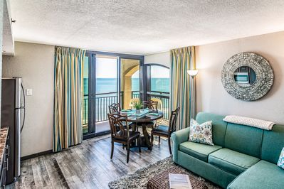 Our corner condo is oceanfront and is beautifully updated and clean.