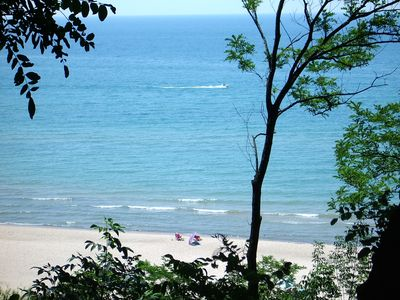 View of our 200 feet of private beach from our bluff overlooking Lake Michigan