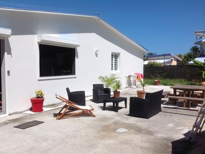 Photo for Villa with pool and large shaded garden, 100 m from the beach Petit Macabou