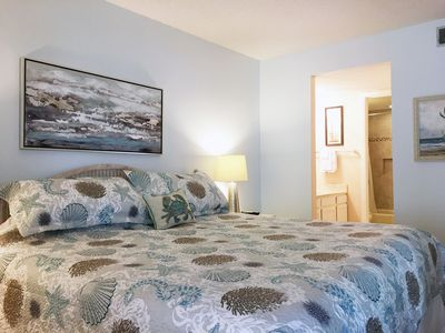 King Size Bed in Master Bedroom - -connects to a private full bathroom.
