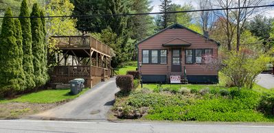 Photo for Lake Saratoga Wood lined Cabin on lake w/ viewing deck. 15 min from Race Track!