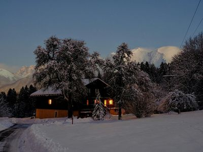 Photo for Large luxury chalet, Savoyard style with Mont Blanc view