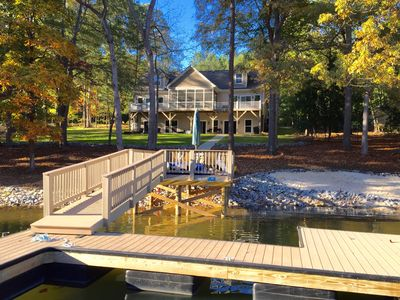 Photo for New Lakefront Home - Sleeps 16 - Dock, Hot Tub, Theater Room, Game Room & Linens