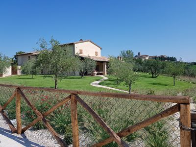 Il Greggio and its garden seen from the swimming pool