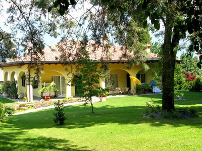 Photo for » near to the lake and village » with exceptional, panoramic view » live on two floors with a gallery and park garden