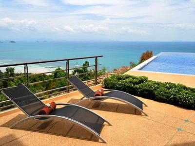 Photo for Sea view dream villa with game room, home theatre, infinity pool and full time chef service!