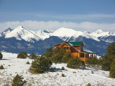 Our cabin, looking west to the Sangre de Cristo Mountains.