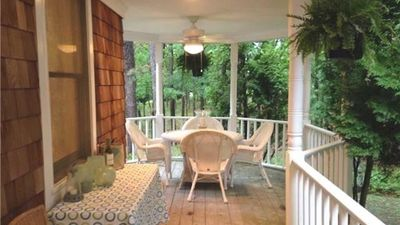 Have breakfast in the gazebo with ceiling fan to keep you cool