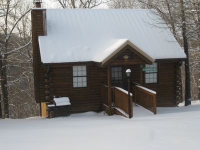 Photo for Log Cabin 2 Pools, Wooded, Secluded,Jacuzzi, WiFi, nature trails,1 mile from SDC
