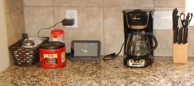 Coffee maker and supplies, knife block, and security pad