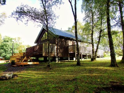 Photo for Luxury Log Cabin Hot tub Peaceful location, Shores of Loch Awe, Fishing Rights