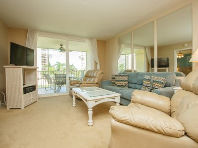 Photo for Enjoy Sunset Views, Two Bedroom, Two Bath Condominium Across From The Beach, Heated Pool and Tennis
