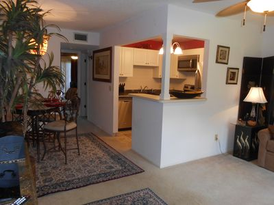 This is your Florida airy living room, dining room and kitchen area.