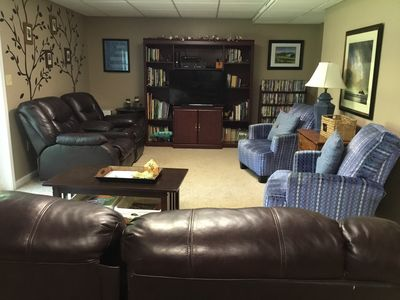 Large Den, Lots of recliners, TV, books, videos, Xbox, Kinect,