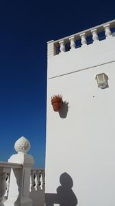 the blue sky in Agaete with its white houses