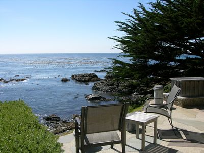 Beautiful flagstone patio & just steps away from the Pacific Ocean.