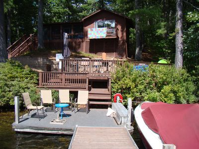 View of camp and main outdoor sitting areas from end of large dock