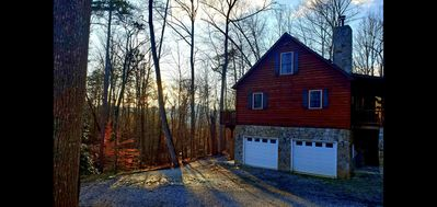 Photo for Private LOG CABIN, mountain views! Private Lake/ Beach, River access/pets