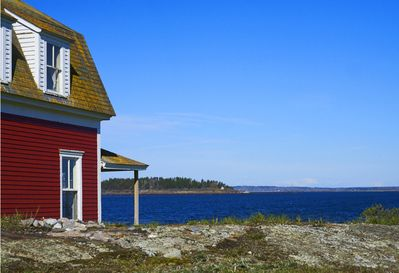 The 100 year old Red House sits at the head of Mackerel Cove on Bailey Island.