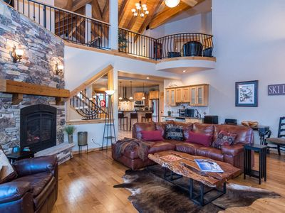 Photo for Fun & Games w/ Two Lounge Areas | Minutes To Mountain | Private Hot Tub | Luxe Duplex