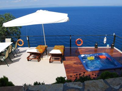 Photo for House with open air jacuzzi and magic sea view ,Climbing in LEONIDIO