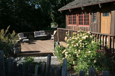 Large Redwood Deck, Complete with Furniture & Garden