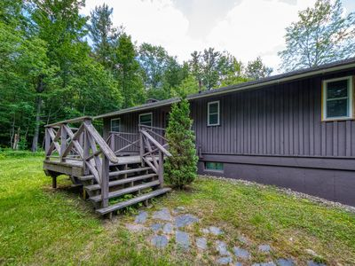 Photo for Cozy, secluded cabin with jetted tub and private sauna! Walk to ski lift!