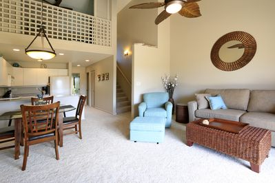 Great Room and Master Bedroom Loft above.  Open, airy, & modern Maui living.