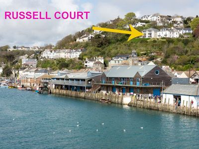 Photo for Modern apartment with parking, wifi and views over Looe river and town.