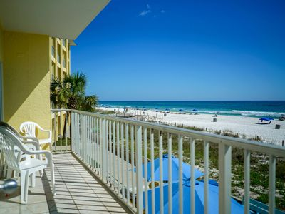 Photo for New Listing! Oceanfront studio w/private balcony. Gulf-side pool, free WiFi!