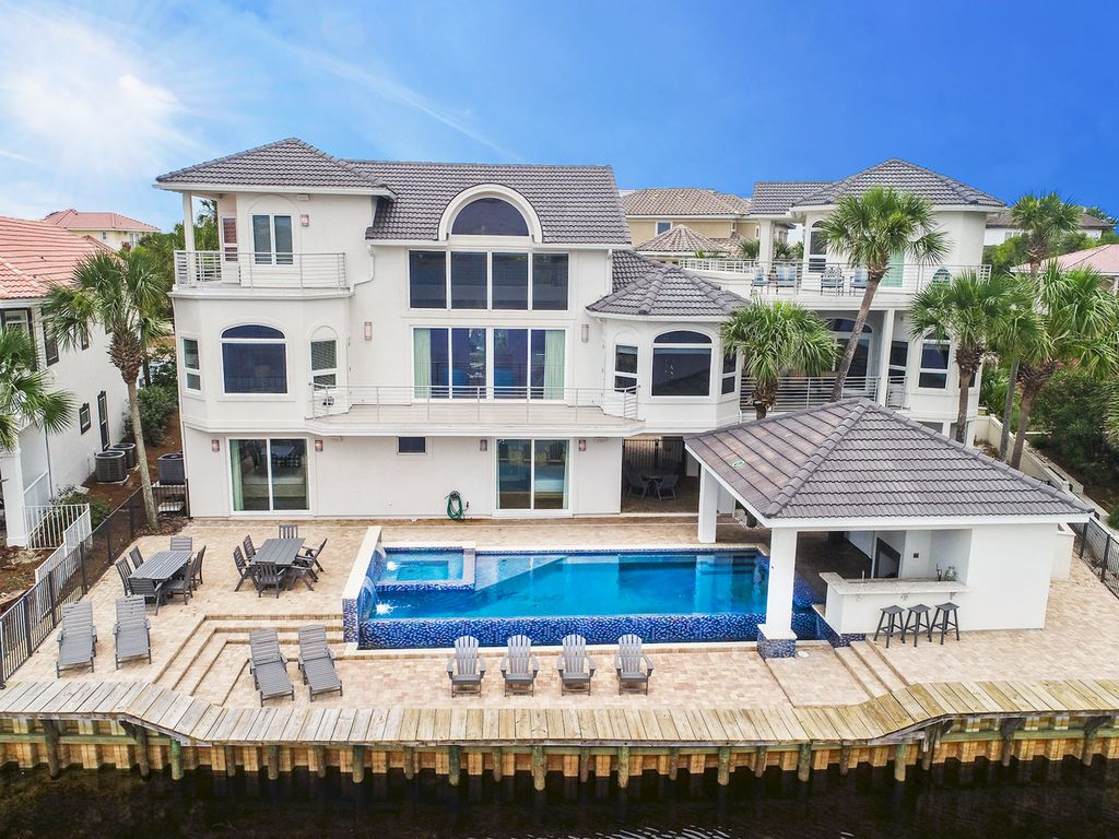 The white pearl waterfall pool hot tub waterfront - 2 bedroom suites in destin florida ...