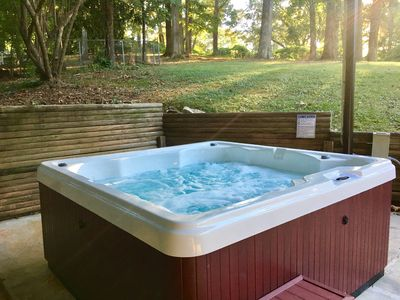 Relax in our Hot Tub and soak all your stress away. Open all year long.