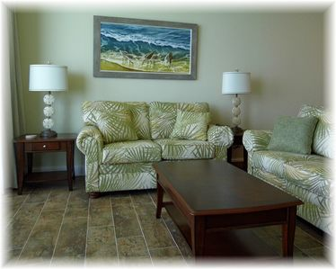 Come relax in our living room with a great view of the Gulf and a 55 Inch LED TV