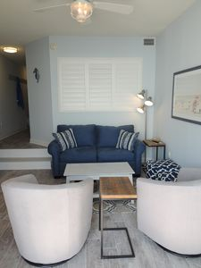 Wind down after a long day at the beach in the comfortable family room