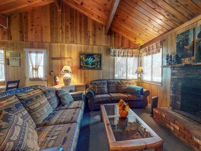 Photo for NEW LISTING! Enchanting, dog-friendly cabin w/full kitchen & fireplace-near town