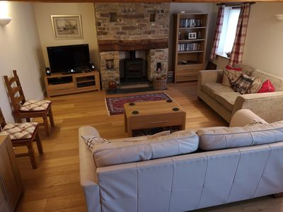 Spacious lounge with TV/DVD & Woodburner
