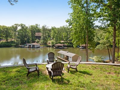 Photo for Spacious lakefront home w/ boat dock, fire pit & pool table - dogs OK!