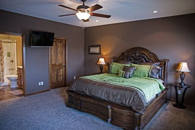 Master bedroom on main level, king bed.