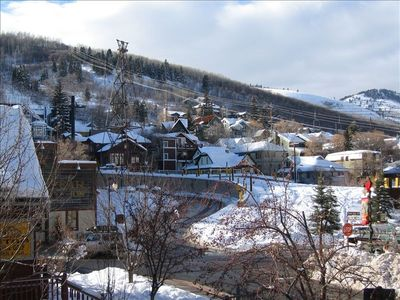 This is the view from Living Room-65 feet from the bottom of the Town Lift Run!