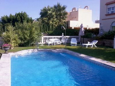 Photo for Private pool chalet, terrace, sea and Coto Doñana view, golf course 100 m away