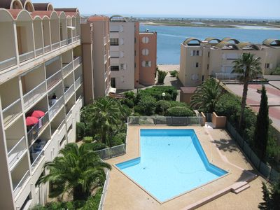 Photo for AMAZING VIEW ON SEA -T2 RESIDENCE WITH SWIMMING POOL - BEACH OF GRAZEL