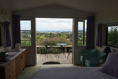 View from your bed to the magnificent view over Gisborne